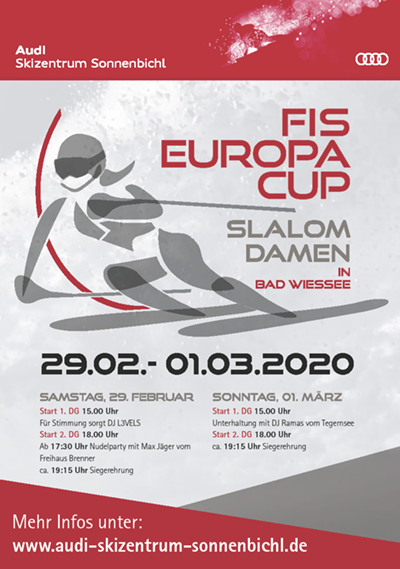 SCRE FIS Europacup Slalom Damen 2020 Plakat Bad Wiessee Audi Skizentrum Sonnenbichl