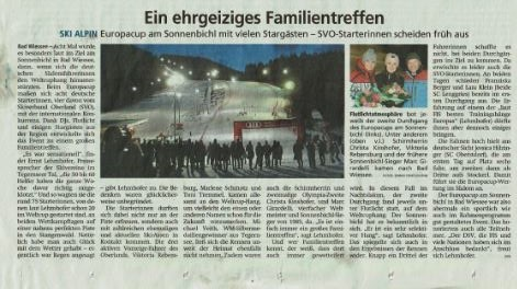 Tegernseer Zeitung Artikel Europacup Sonnenbichl Ski Alpin 2020